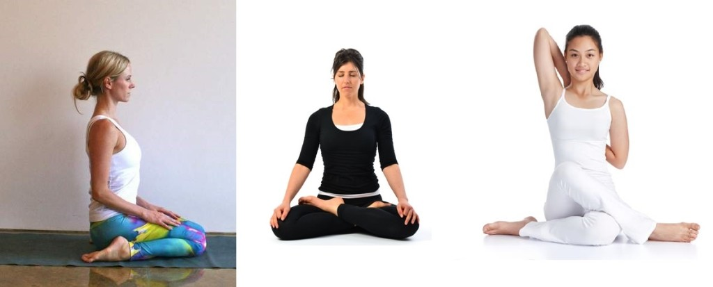 Virasana, Padmasana and Gomukhasana - asanas of hatha yoga
